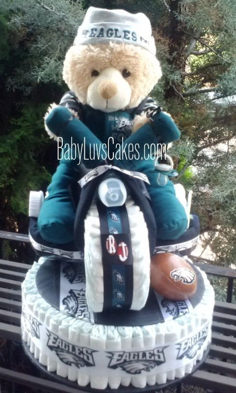 Football Diaper Cake  Philadelphia Eagles Outfit by BabyLuvsCakes