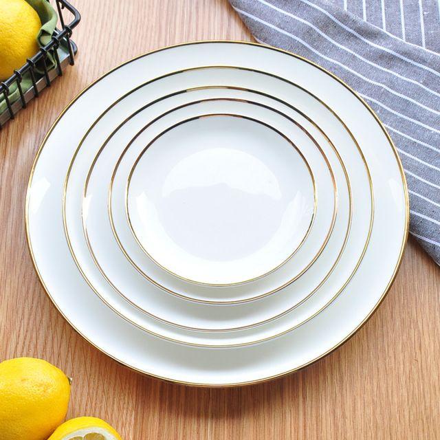 Белая Керамическая Посуда Костяного Фарфора Блюдо Плиты Цвет на Тарелку Тарелку Плоские КРЫШКИ, цзиндэчжэнь Чистый Белый Блюдо