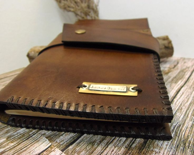 """Leather journal cover, 5"""" x 8.25 , Personalized  moleskine Cover, field notes cover, travel wallet, brown leather cover, Rustic Brown. by VakalisCreations on Etsy"""