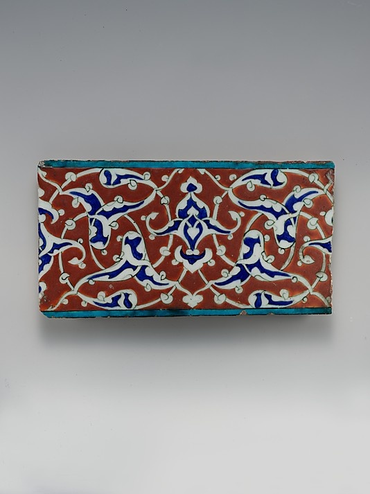 Border Tile with Split-palmette Design Object Name: Tile Date: ca. 1578 Geography: Turkey, Iznik Medium: Stonepaste; polychrome painted under transparent glaze