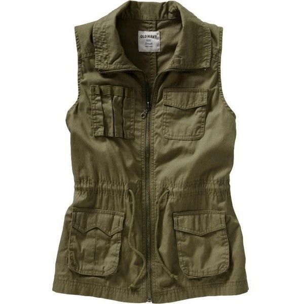 Old Navy Women's Canvas Surplus Vests ($20) ❤ liked on Polyvore featuring outerwear, vests, jackets, tops, women, canvas vest, old navy vest, zip vest, vest waistcoat and brown vest