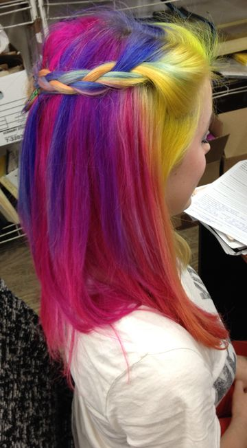 Never a dull hair day at the Manic Panic® offices! This staffer is wearing Hot Hot Pink, Sunshine, Pretty Flamingo, Ultra Violet, and Bad Boy Blue. #rainbowhair #braid