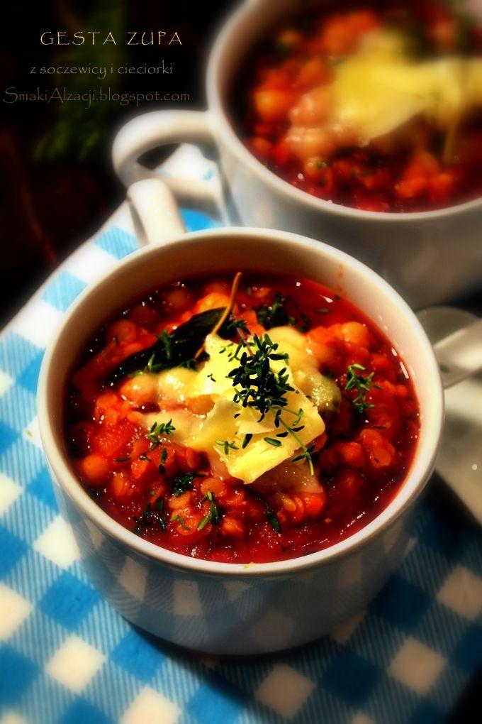 Smaki Alzacji : Gęsta zupa z soczewicy i cieciorki