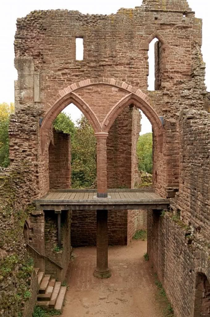 Goodrich Castle,Herefordshire -  In existence by 1101, known as Godric's Castle, named probably after Godric of Mappestone.  At the beginning of the 12th century, the castle had passed from Godric to William Fitz Baderon, thought to be his son-in-law, and on to his son, Baderon of Monmouth who married Rohese de Clare, a member of the powerful de Clare family. Gilbert de Clare eventually acquired Goodrich Castle himself.  Gilbert generation 29 on tree.