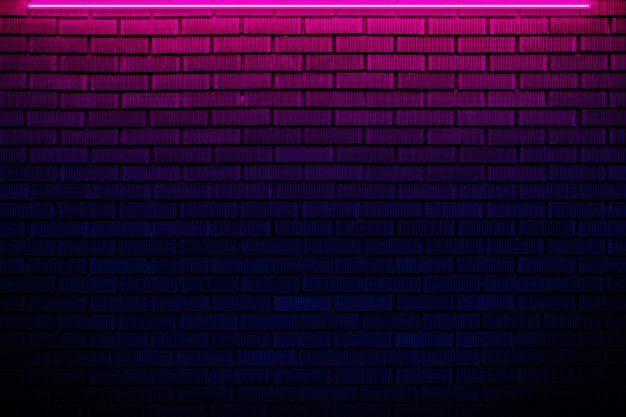 Brick Wall In Neon Light Neon Wallpaper Pink Neon Wallpaper Dark Background Wallpaper