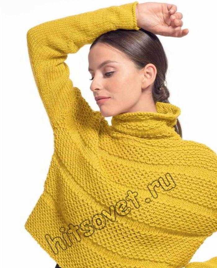 Короткий свитер спицами, фото 2.