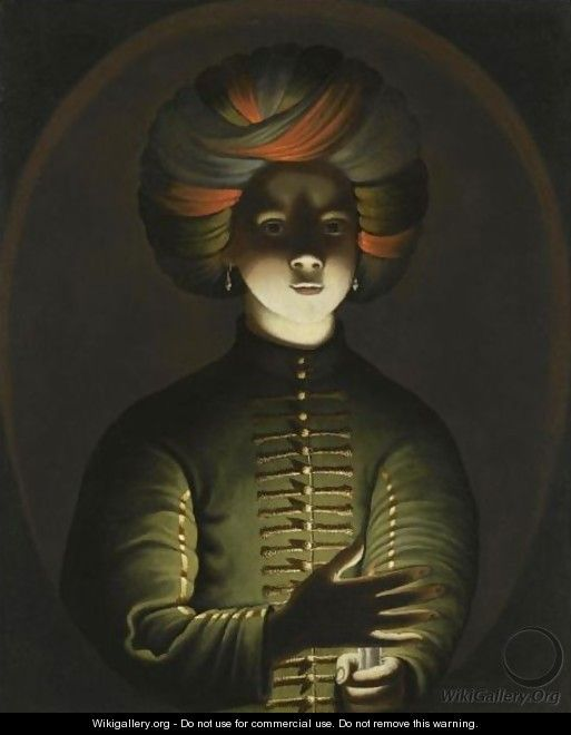 A Young Girl Wearing A Turban And Holding A Candle - (after) Wolfgang Heimbach