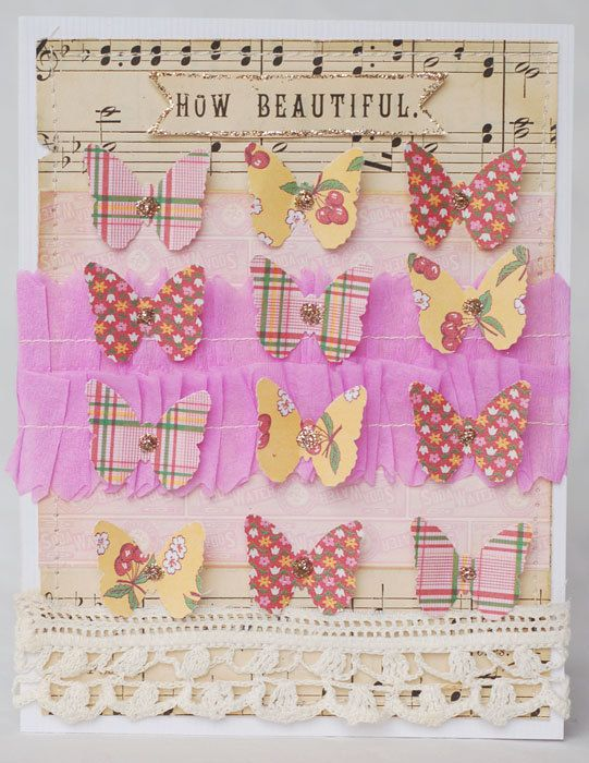 Butterflies and brads in rows with ribbons...made variations. Very adaptable.