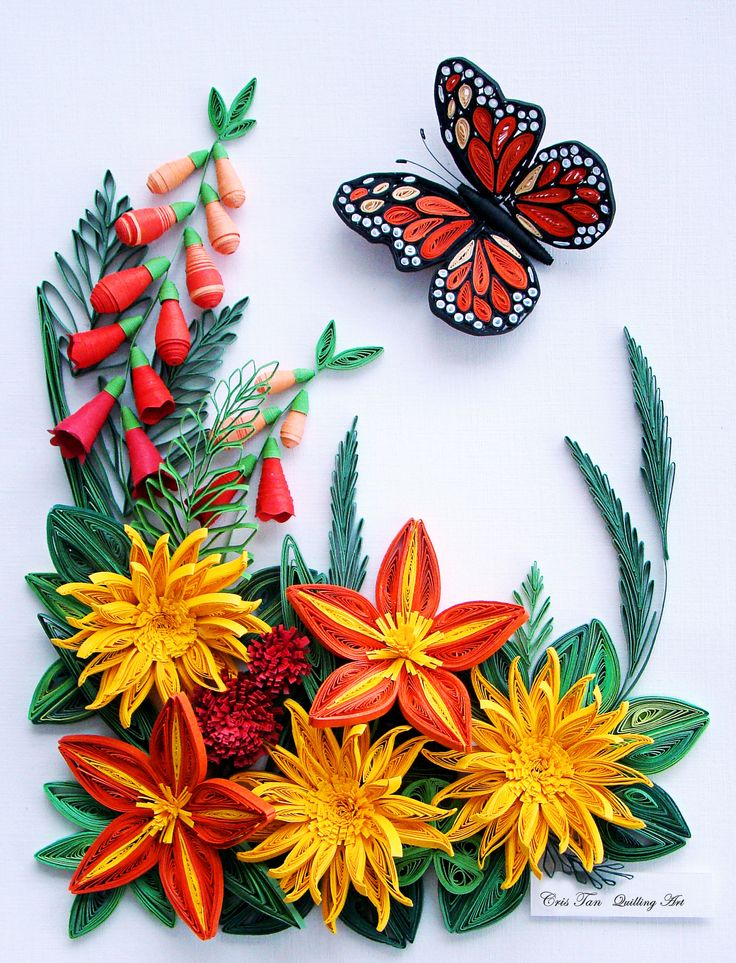 quilling, flowers, butterfly