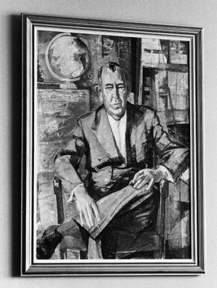 Portrait de Trygve Lie, premier Secrétaire général des Nations Unies. Peint par l'artiste norvégien Harald Dal, il a été présenté à l'ONU par le Représentant permanent de la #Norvège le 21 novembre 1960, il a été offert par 10 amis norvégiens de M. Lie.
