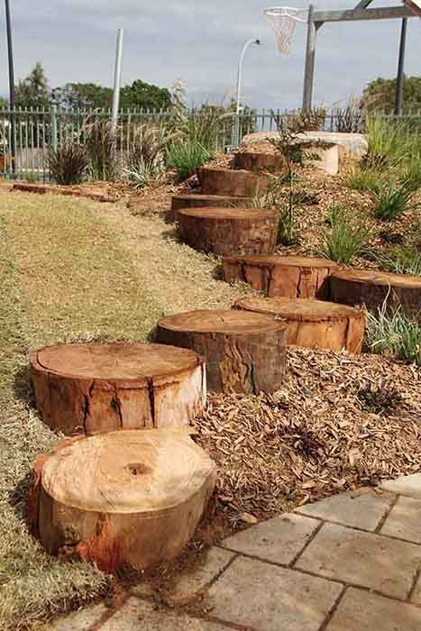Wooden stumps can be used to create spaces for jumping, climbing, leaping, balancing etc. YMCA Port Hedland Early Learning Centre June 2013