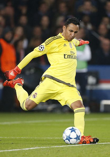 Goalkeeper of Real Madrid Keylor Navas in action during the UEFA Champions League match between Paris SaintGermain and Real Madrid at Parc des...