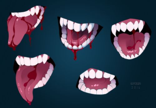 """dubnyangg: """" candyslices: """" Wanted to practice some teeth and tongues. Used references taken of my own terrible face (sans teeth, I clearly have people teeth…. probably) """" °v° """" This looks sexy for some reasons…"""