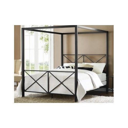Metal canopy bed frame poster headboard footboard black for Brass canopy bed frame