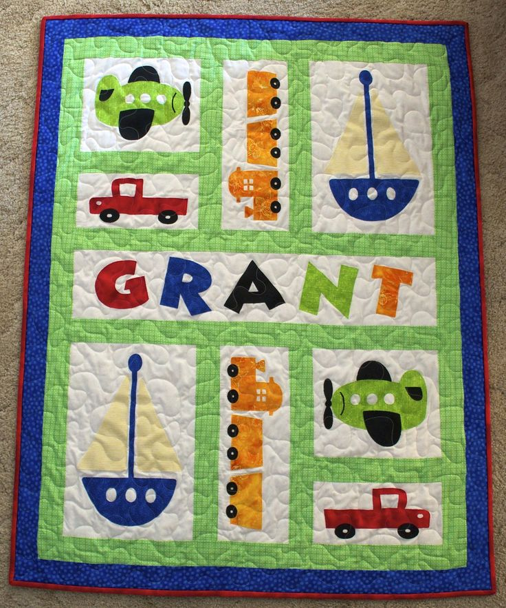 Planes, Trains & Automobiles *****use flannel sheet for batting to make lightweight******