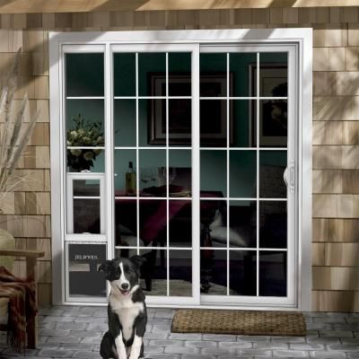 JELD WEN 72 in  x 80 in  White Right Hand Vinyl Patio Door with Low E Argon  Glass  Grids and Large Pet Door20 best French Doors images on Pinterest   French doors  Pet door  . French Door With Dog Door Built In. Home Design Ideas