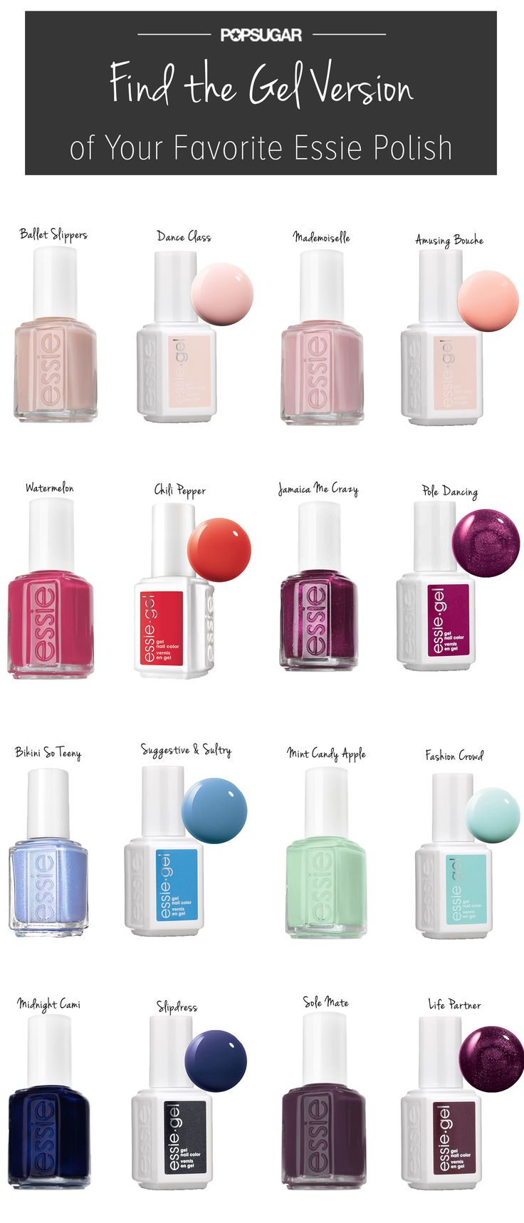 Match your favorite Essie hue to its gel polish counterpart! #manicure