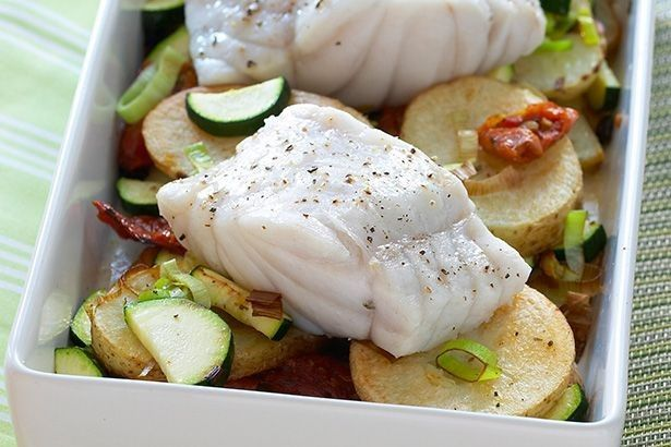 Keep it fresh with this baked fish on slow cooked potatoes.