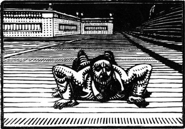 palle nielsen - »Uden titel« er titlen på dette billede i pensel og tusch fra 1968.