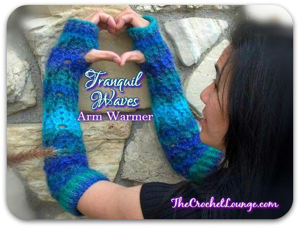 Tranquil Waves Arm Warmer – Teen to Adult (s) – #Crochet #FreePattern: http://thecrochetlounge.com/tranquil-waves-arm-warmer-teen-adult-s-free-crochet-pattern #TheCrochetLounge #ArmWarmer