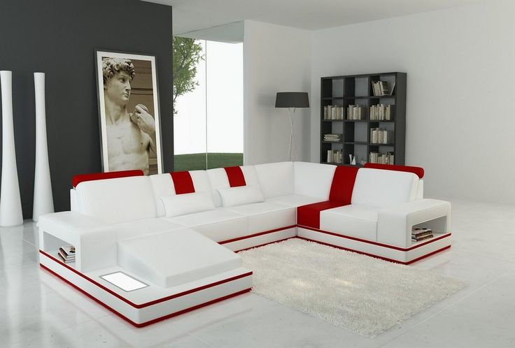 Divani Casa 5075 Modern White and Red Bonded Leather Sectional Sofa - Stylish Design Furniture