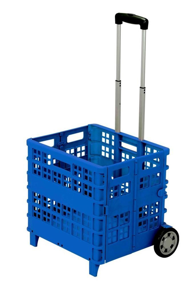 Chariot caisse pliable bleu panier plastique courses voiture camping cars