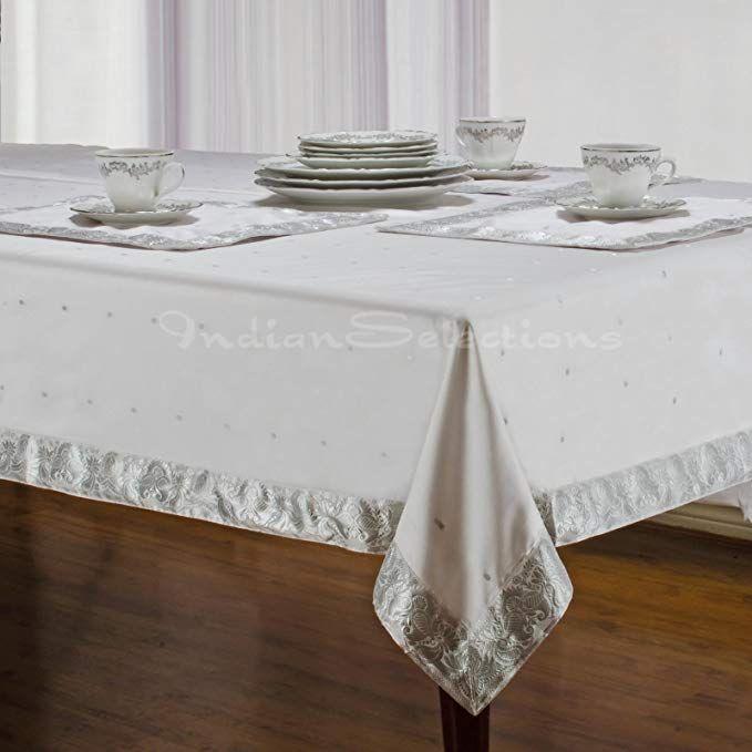 White Silver Handmade Sari Oblong Tablecloth India 60 X 144