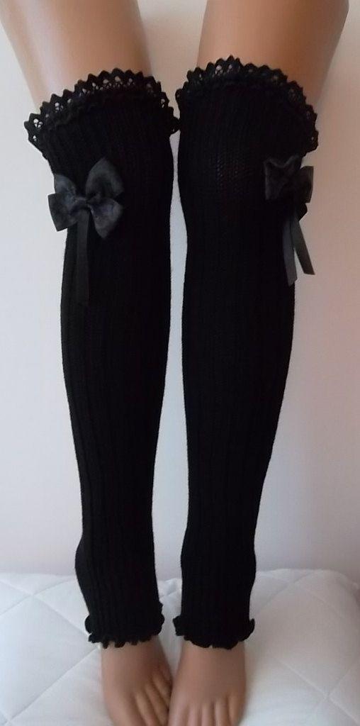Schwarze Stulpen mit Spitze Kante Damenmode Socken von CarnavalShop