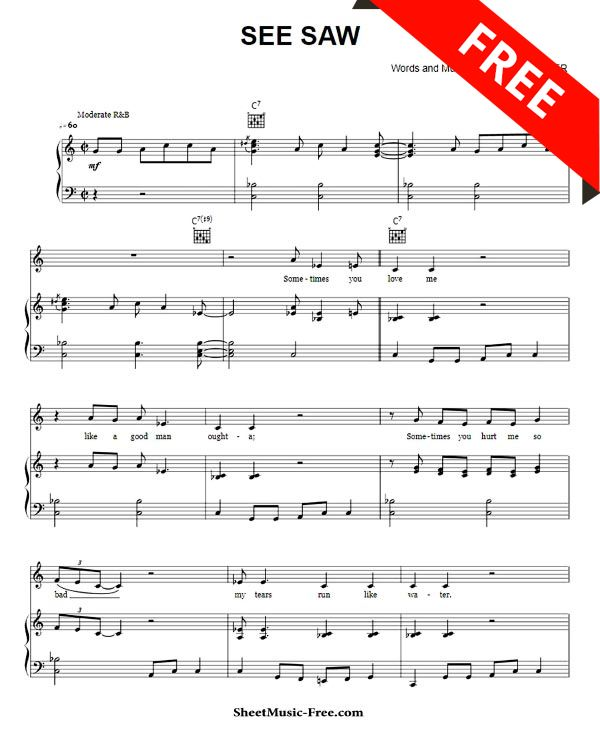 See Saw Sheet Music Aretha Franklin With Images Sheet Music