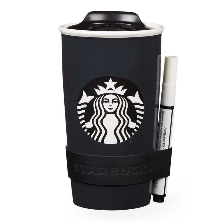 A double-walled ceramic travel mug you can write on with the included chalk pen.