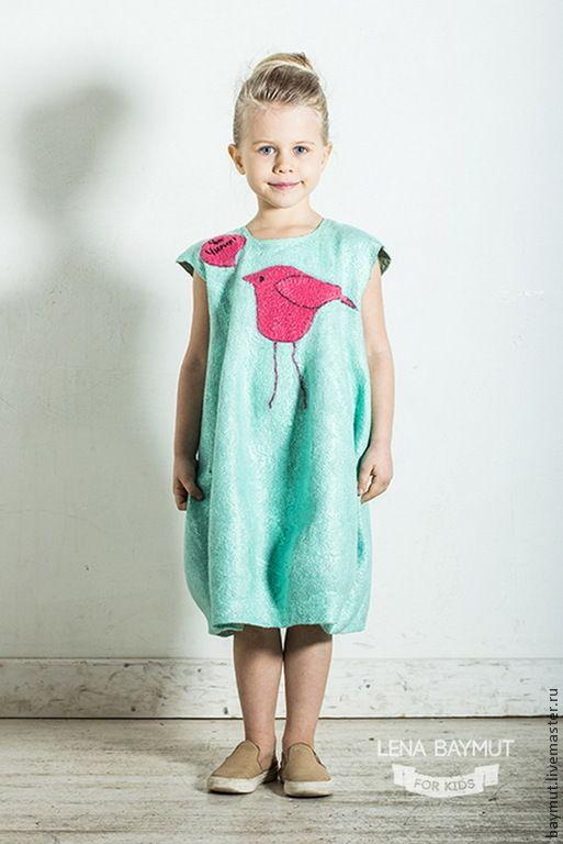 """Мятное-платье баллон """"Чик-Чирик"""" - мятный,рисунок,бирюзовый,нежно-бирюзовый"""
