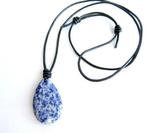 Sodalite stone pendant leather necklace mens by Bravemenjewelry
