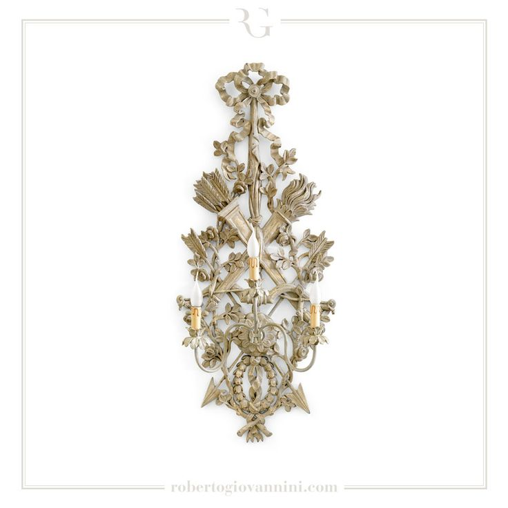 "art. 810 3 lights sconce ""trophy"" carving end XVIII C. Neoclassical French"