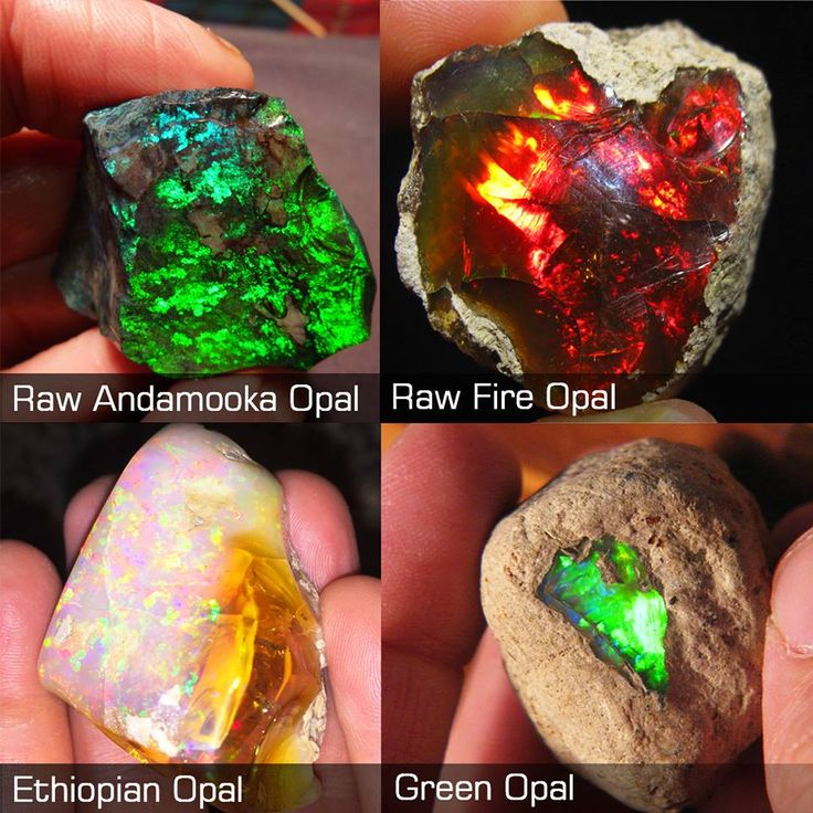 Types of opal  photo: Amazing Geologist page on facebook  Opal  is a hydrated amorphous form of silica (SiO2·nH2O), Because of its  amorph...
