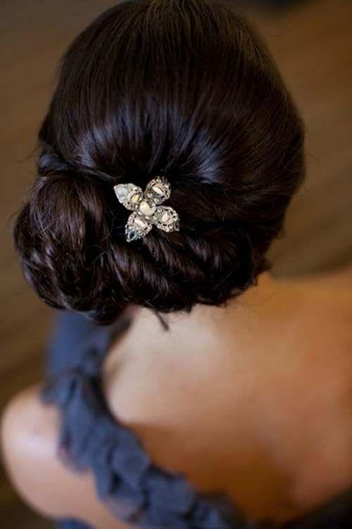 Side Twisted Floral Bun Up do #WeddingUpdos