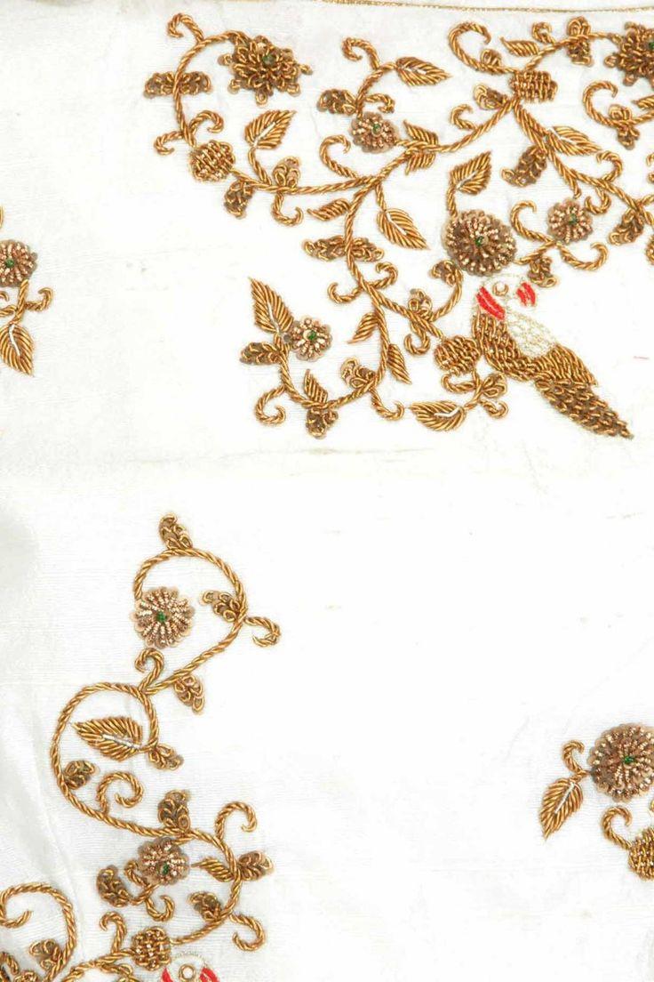 TISHA SAKSENA Ivory drape with zardozi motifs available only at Pernia's Pop-Up Shop.
