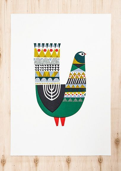 Bird illustration-would make a great menorah on the backside if altered slightly!