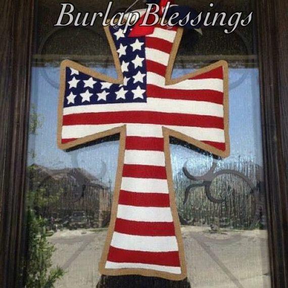 Hand-Painted Burlap Patriotic American Flag Cross Door Hanger by ...