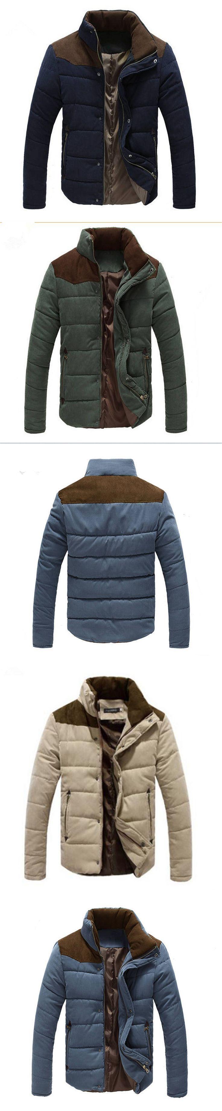 2016 Hot Sale Men Winter Splicing Coat Jacket Winter Parka Mens Coat Winter Contrast Color Jackets Casual Patchwork