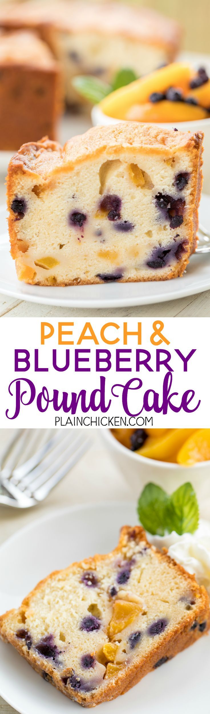 Peach and Blueberry Pound Cake - the perfect summer dessert! Can make ahead of time and serve a few days later. You can even freeze the cake!! Butter, cream cheese, sugar, eggs, milk, flour, baking powder, salt, fresh peaches, fresh blueberries and peach