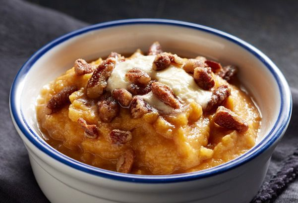 2 pounds sweet potatoes 2 cups pecans 2 tablespoons honey 1 tablespoon butter (for nuts) 1/4 teaspoon cinnamon 1/4 teaspoon salt 1/2 cup butter (for