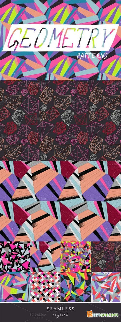 Colorful geometric pattern set