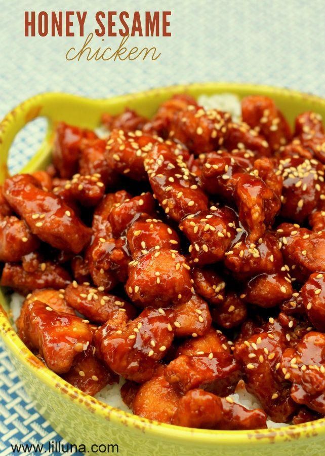 Honey Sesame Chicken Recipe on { lilluna.com }. This is a new favorite!
