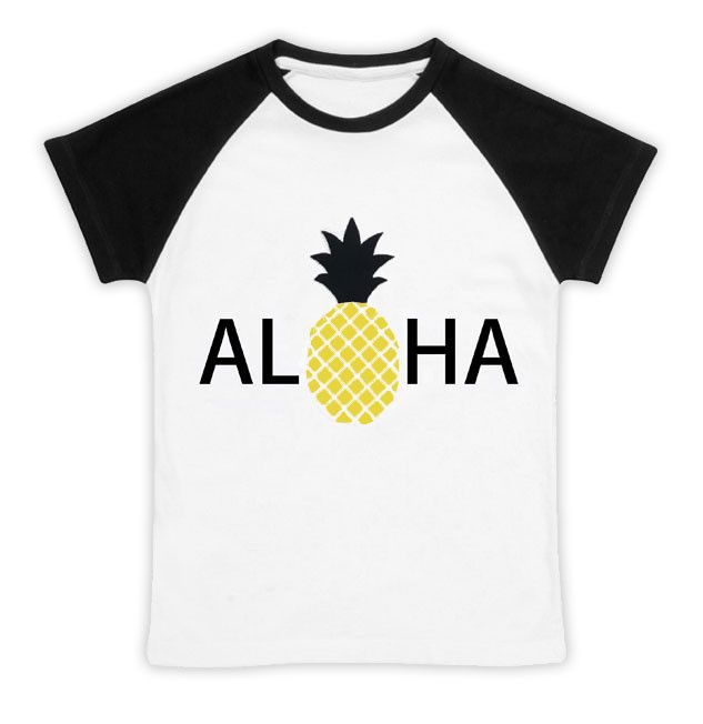 Aloha pineapple reglan shirt for boys or girls. Available in sizes: 6-12 months, 12-24 months, 2T/3T, 4T/5T, 6/7, 8.