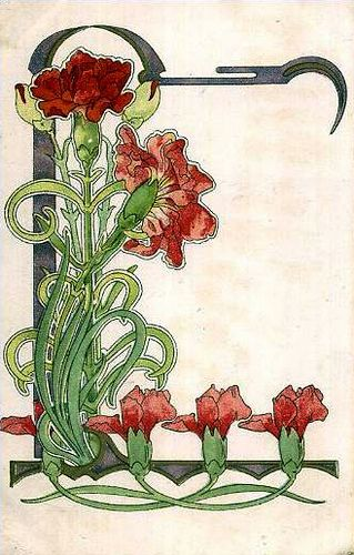 I like it even though its not period. Art Noveau Carnations, via mpt.1607