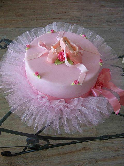 Adorable for girls' birthdays; tutu under cake