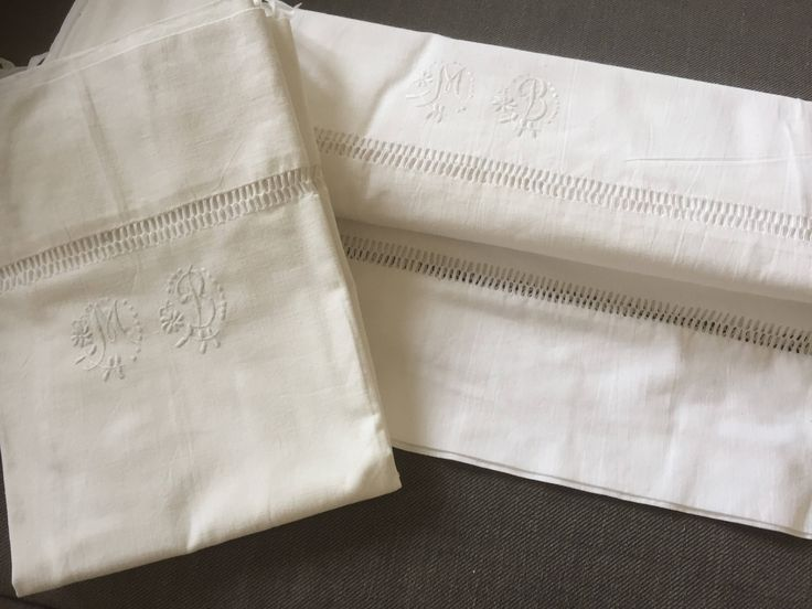Crisp white/Antique/French Linen/twin set/ hand embroidered/monogrammed/MB/ flat sheet /and /pillow case by WifinpoofVintage on Etsy