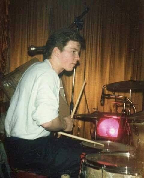 Rick Astley With his first passion...the drums .
