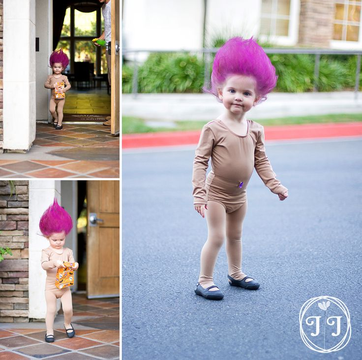 Troll doll costume! Jewel belly button and all. I think this might be happening for Elle this year. haha.