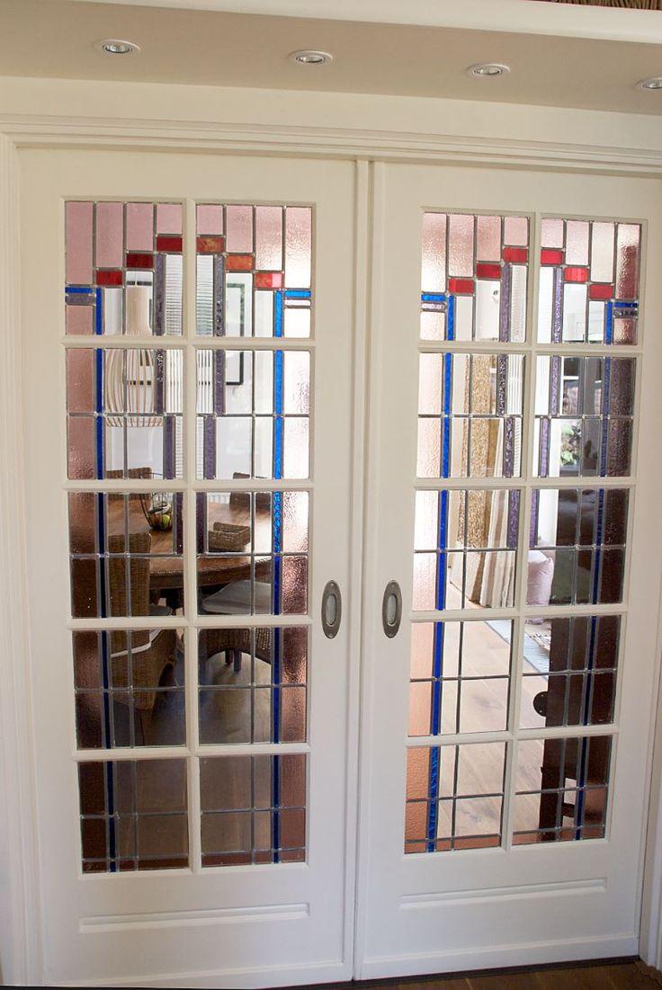 Jaren30woningen.nl | Kamer-en-sute in #jaren30 woning met schuifdeuren met #glasinlood